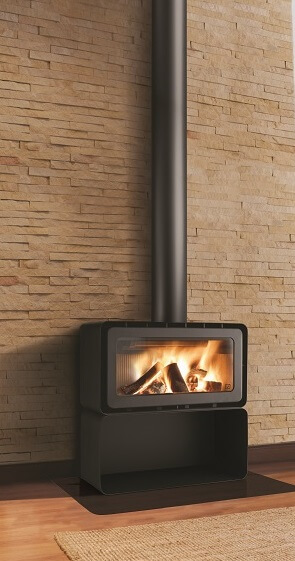 ADF freestanding wood heater with wood storage