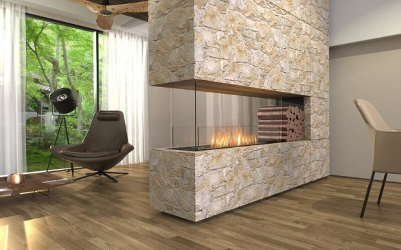 Double sided bioethanol fireplaces