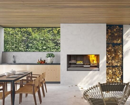 Escea EK1250 Outdoor Fireplace Kitchen in BBQ mode