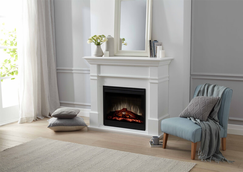 DIMPLEX Winston Mantel Electric Fireplace with LOGS White Finish ...