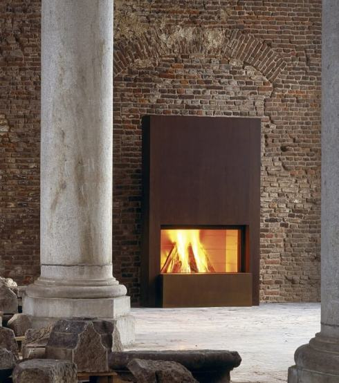 Stuv 21 Inbuilt Fireplace in rust cladding