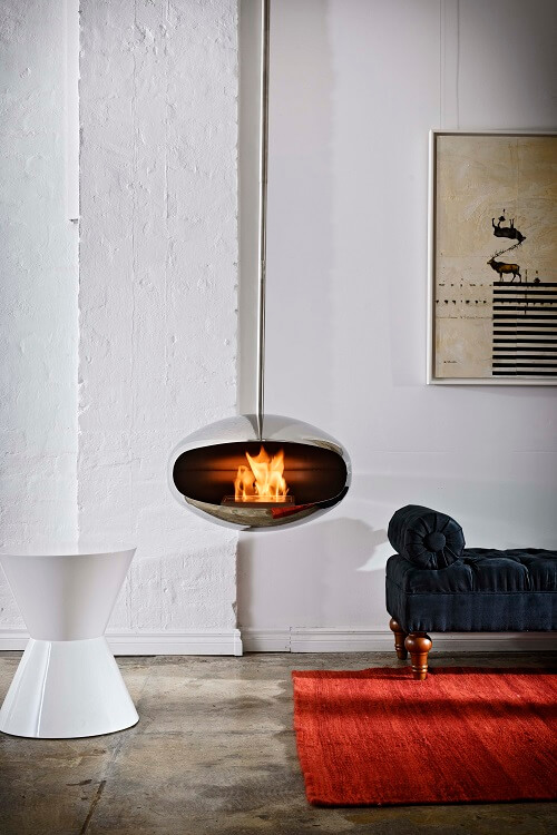 Suspended bioethanol fireplaces