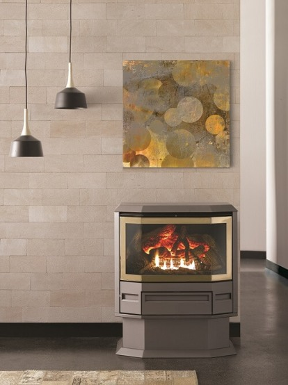 Archer Gas Log Fire 300 Series - Bay Window - Freestanding with Pedestal - Gold door trim