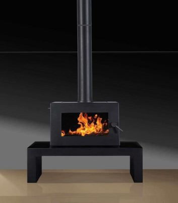 Blaze B605 freestanding wood heater on bench