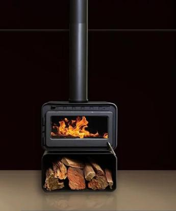 Blaze B100 freestanding wood heater with wood stacker