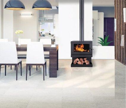 Blaze B600 freestanding wood heater with wood storage