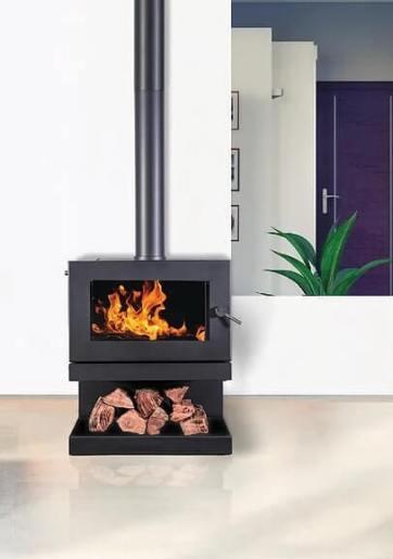 Blaze B900 freestanding wood heater with wood storage