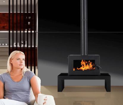 Blaze B905 freestanding wood heater on bench