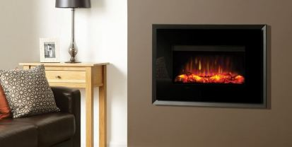 Gazco Riva GER670V Electric Fire with evoke black glass fascia