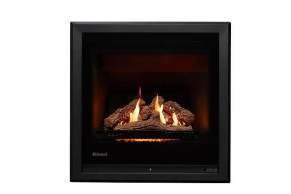 Rinnai 650 Gas Fire with Logs in Black