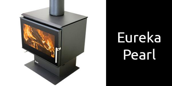 Eureka Pearl freestanding wood heater on pedestal