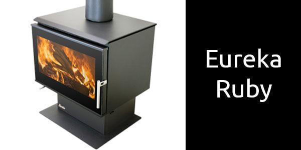 Eureka Ruby freestanding wood heater on pedestal