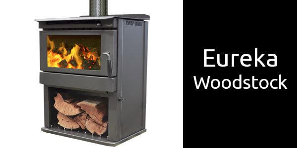 Eureka Woodstock freestanding timber fireplace with wood storage