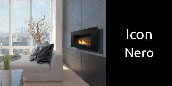 Icon Nero wall mounted bioethanol fireplaces