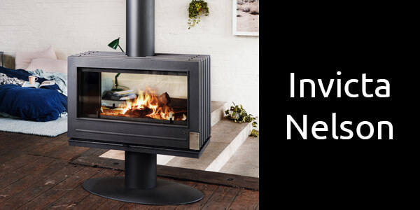 Invicta Nelson double sided freestanding wood fireplace
