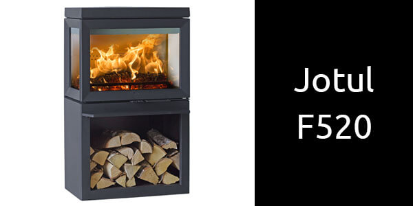 Jotul F520 freestanding wood heater with wood storage