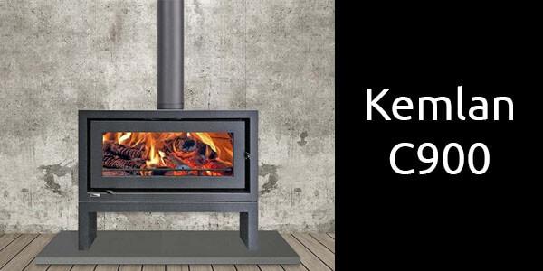 Kemlan C900 freestanding wood heater on bench
