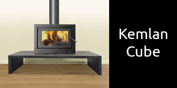 Kemlan Cube freestanding wood fire on base