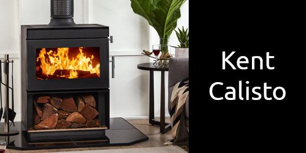 Kent Calisto freestanding wood heater with wood storage