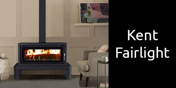 Kent Fairlight freestanding wood heater on bench