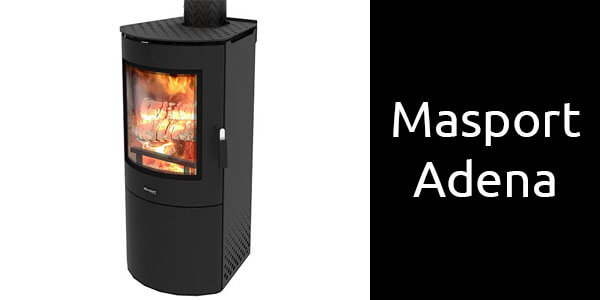 Masport Adena freestanding wood heater available with built in woodstacker