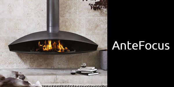 Oblica Antefocus suspended wood fireplace