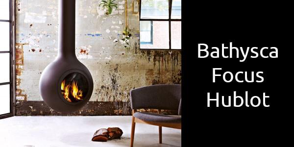 Oblica Bathyscafocus Hublot suspended wood fireplace