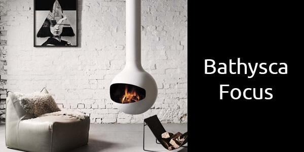 Oblica Bathyscafocus suspended wood fireplace