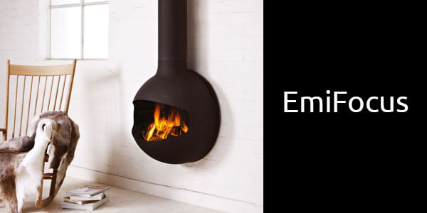 Oblica Emifocus suspended wood heater