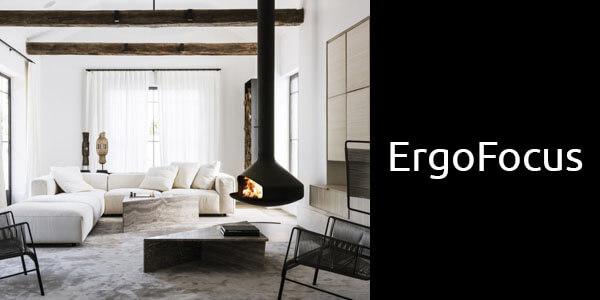 Oblica Ergofocus suspended wood fireplace