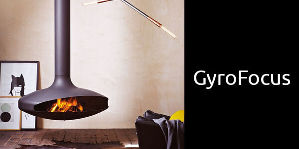 Oblica Gyrofocus suspended wood fireplace
