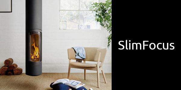 Oblica Slimfocus suspended wood fireplace