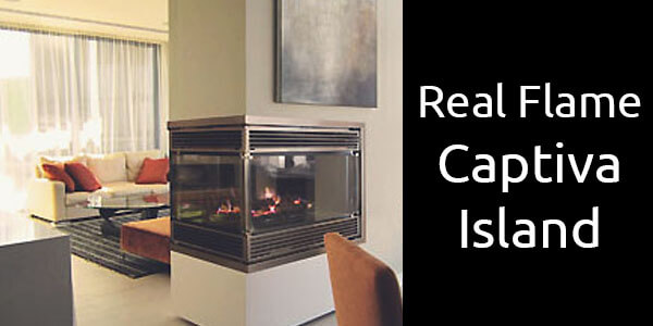Real Flame Captiva Island three sided see through gas fireplace