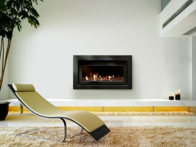 Escea DL850 Gas Log Fire with Squared Fascia in Black