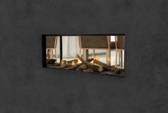 Escea DS1150 double sided gas fireplace with woodland logs