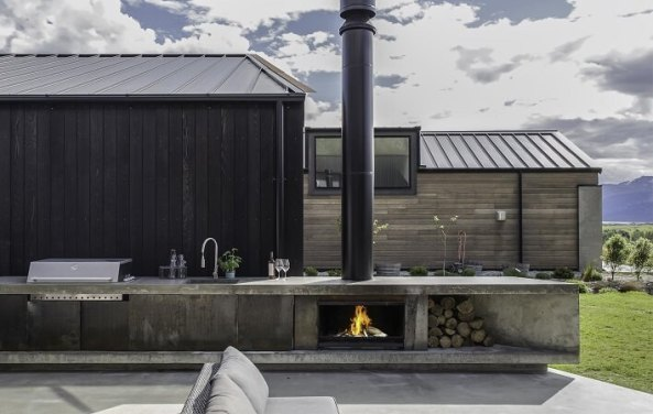 Escea EW5000 frameless outdoor wood fireplace
